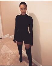 romper,long sleeves,long sleeve romper,all black everything,draya michele,outfit,outfit idea,summer outfits,spring outfits,cute outfits,date outfit,party outfits,one piece,black romper,cute rompers,trendy,style,stylish,fashion,clubwear,pointed toe pumps,pointed boots,pointed toe,boots,black boots,thigh high boots,high heels boots,winter boots,over the knee boots,heel boots,little black boots,heels,high heels,black heels,cute high heels,black high heels,shoes,black shoes,sexy shoes,party shoes,cute shoes,summer shoes,fall outfits