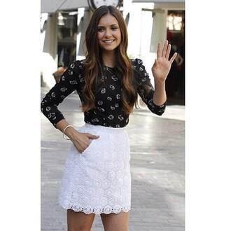 pullover nina dobrev the vampire diaries stars brunette black shirt daisy print sleeve long sleeves shirt skirt