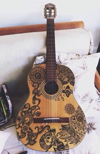 home accessory music guitar boho