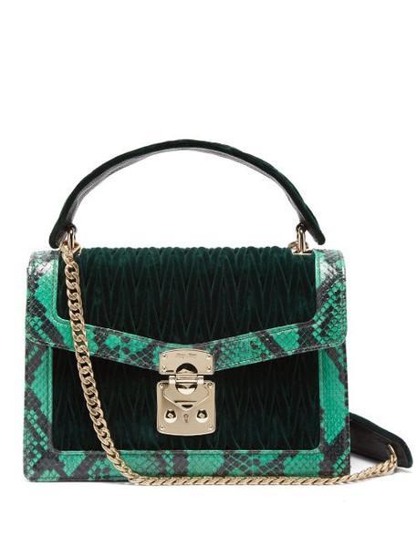 dark quilted bag shoulder bag velvet green