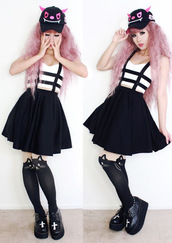 skirt,cats,cross,platform shoes,kawaii,dress,tights,it girl shop,skater skirt,pastel goth,japan,girly,grunge,pastel,soft grunge,cute,trendy,japanese,girl,hair accessory,kawaii dark,shoes,black skirt,black shoes,white crop tops