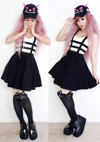 skirt cats cross platform shoes kawaii