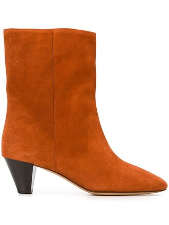 women boots leather suede yellow orange shoes