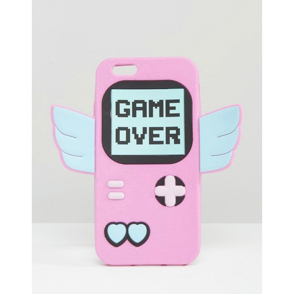 phone cover game over phone case iphone pink gamer girl pastel game boy winged kawaii cute phone harajuku magical
