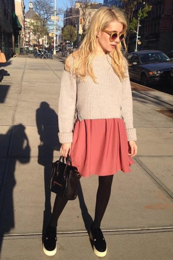 Skirt Dress Emma Roberts Flats Sweater Instagram