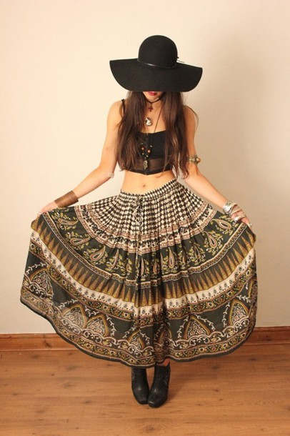 skirt skirts apparel maxi maxi skirts ankle boots floppy hat crop tops gypsy boho boho chic tribal pattern
