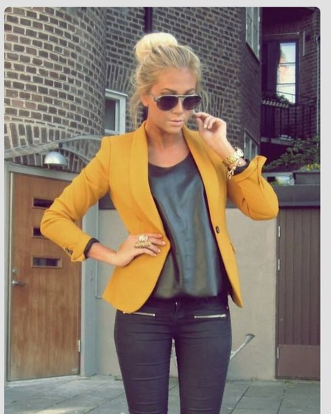 jacket blazer yellow