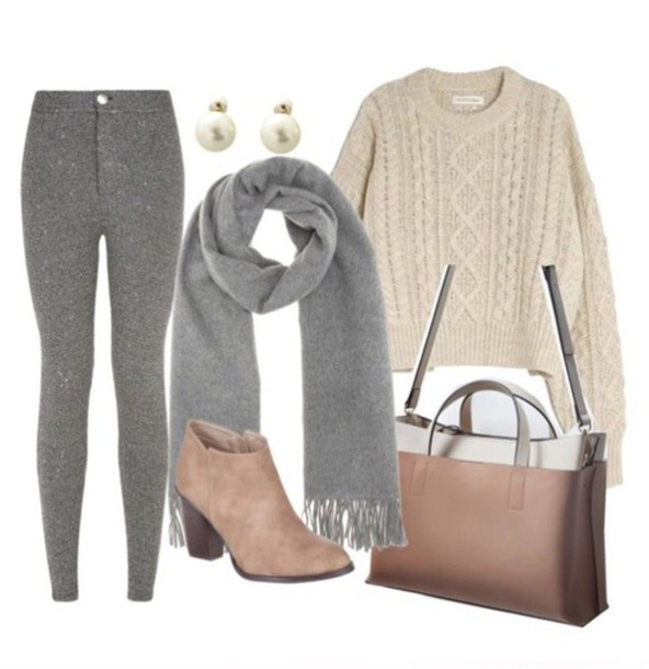 Leggings Grey Leggings White Pullover Fall Outfits Cable Knit