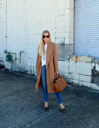 fash boulevard blogger coat top jewels shoes bag camel coat fall outfits handbag smoking slippers skinny jeans