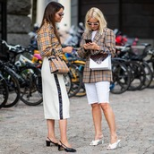 blazer,checkered,white shorts,mules,checkered shirt,sunglasses,handbag