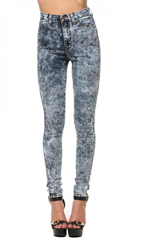 High Waisted Acid Wash Skinny Jeans in Dark Gray