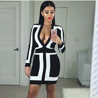 dress mischievous socialite amrezy long sleeves above knee mini bodycon bandage black and white plunging low cut sexy brunette party dress geometric