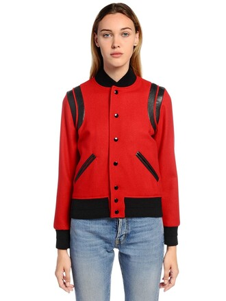 jacket teddy jacket leather wool red