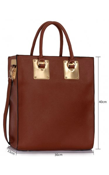 Brown Large Shopper Tote Bag - from The Fashion Bible UK