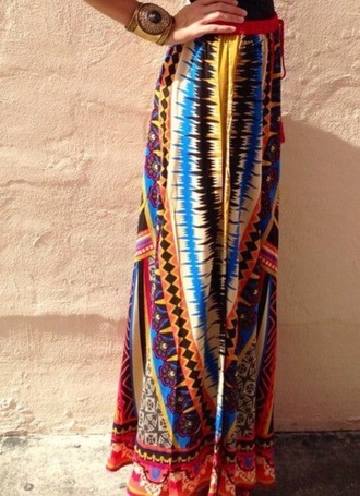 skirt yellow red blue black