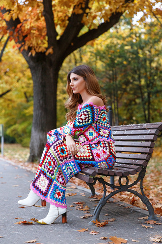 the mysterious girl blogger shoes top dress crochet dress multicolor ankle boots fall dress