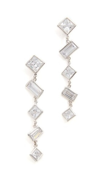 clear princess earrings silver jewels