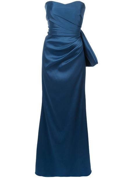 Badgley Mischka gown strapless women spandex draped blue dress