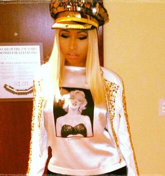 sweater cute nicki minaj marilyn monroe swag gold snapback captain