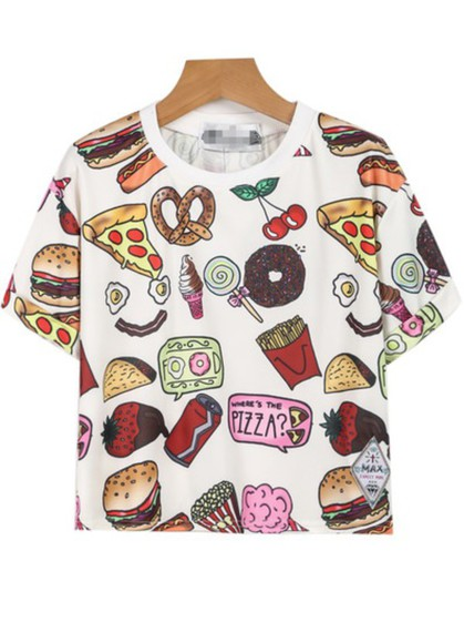 t-shirt pizza vintage cool girl boho hipster food