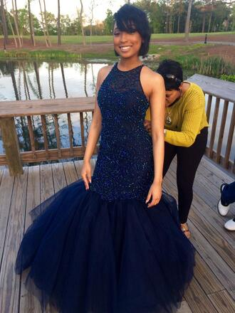 dress prom dress navy navy dress mermaid poof prom sparkle sleeveless navy blue prom dress