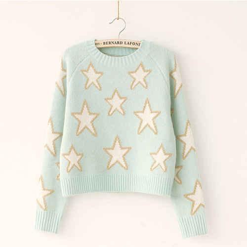 [grxjy56002409]fashion contrast color pentagram pattern round neck sweater