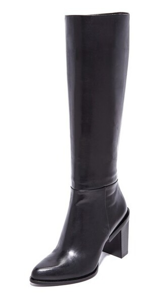 high knee high boots black shoes
