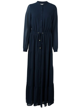 dress shirt dress maxi women drawstring blue