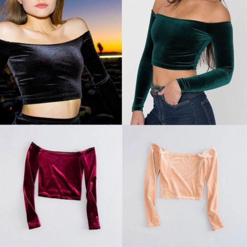 285aa7e941cb48 New Women Casual Long Sleeve Slim Velvet Off Shoulder Crop Tops ...