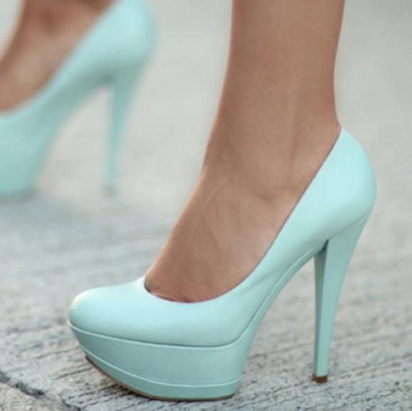 mint high heels pretty shoes