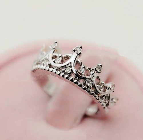vintage silver plated crown ring