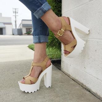 shoes cicihot heels high heels chunky heels lug sole heels beige girly chic sexy fashion boho
