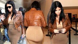 jacket celebrity jacket women celebrity jackets kim kardashian brown leather jacket kim kardashian jacket kim kardashian kim kardashian style kim kardashian dress leather jacket brown leather jacket