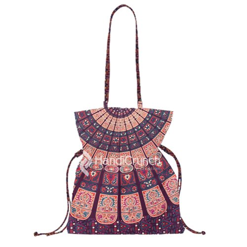 elegant dark maroon with orange pattern mandala bucket bag