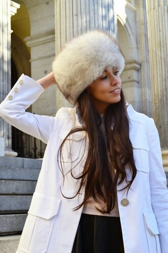 hat white fur hat white hat fur hat coat black coat long hair brunette sweater winter outfits winter look