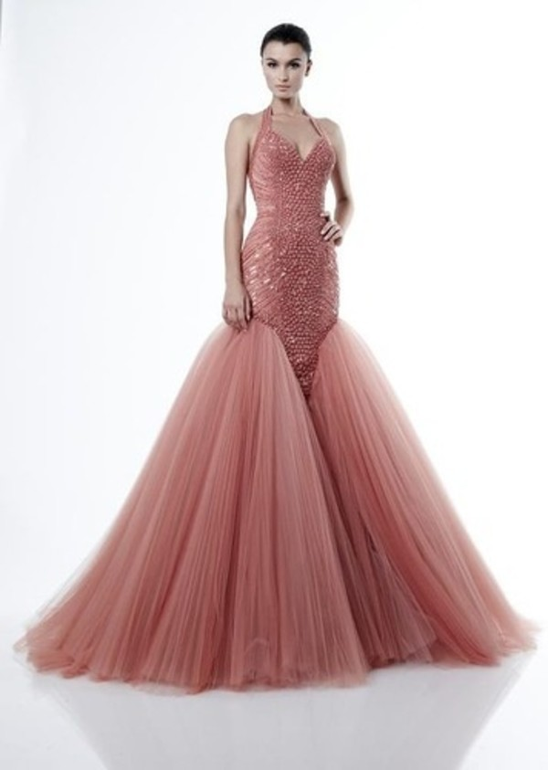 dress pink dress mermaid prom dress sparkly dress halter neck top