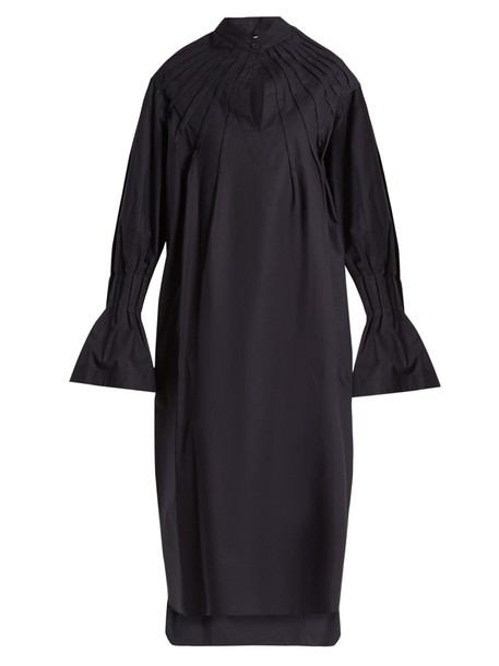 dress pleated long cotton navy