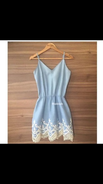 dress blue dress cute white lace beautiful summer dress