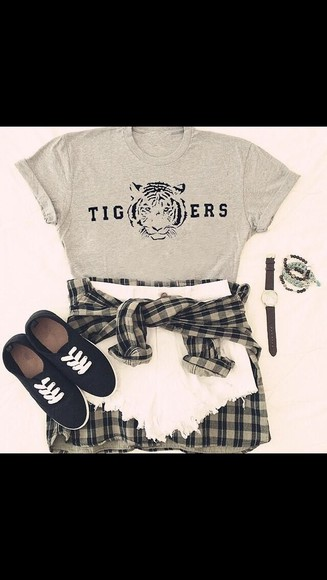distressed top tigers grey white shorts flannel shirt