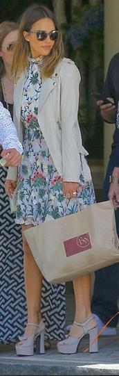 dress,jessica alba,floral,floral dress,jacket,sandals,platform sandals,mini dress,shoes