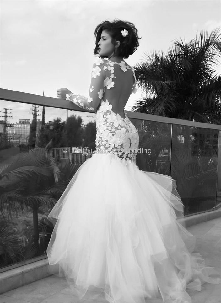 Discount Dreamlike Flower Wedding Dress Crew Neck Sheer Long Sleeve Backless Floral Appliques Bodice Tulle Skirt Bridal Gowns Garden Wedding Dresses Online with $188.49/Piece | DHgate