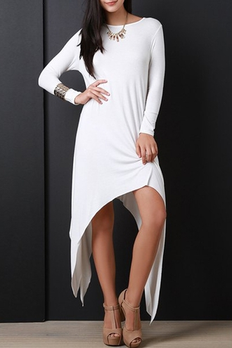 dress white casual asymmetrical long sleeves fashion style fall outfits zaful white dress white long dress long sleeve dress white long sleeve dress