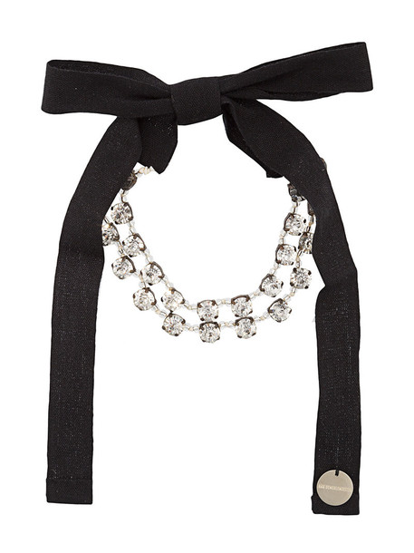 ANN DEMEULEMEESTER bow women embellished cotton black jewels
