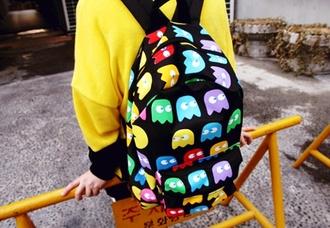 bag backpack bookbag back to school pacman monsters black