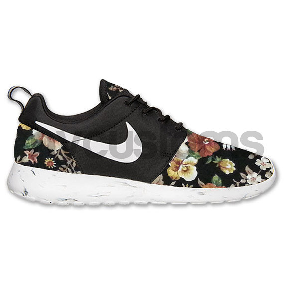 nike roshe run black white marble floral piece custom by