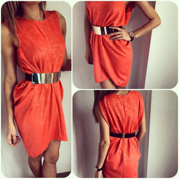 dress orange gold belt hot fashion date dress
