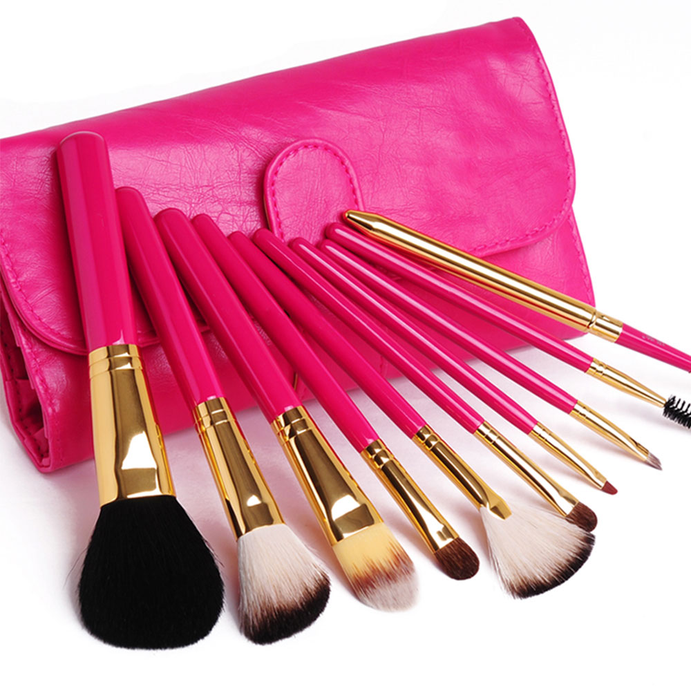 10 PCS Make Up Cosmetic Brush Set With Rose Red Bag [grxjy5140030] on Luulla