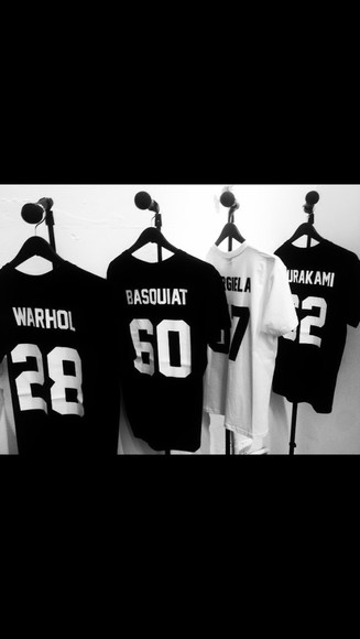 t-shirt shirt black white jersey