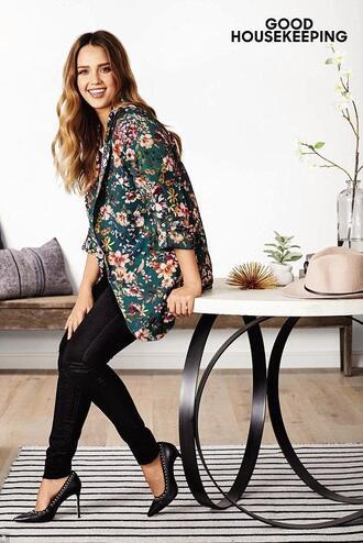 jacket blazer pants pumps jessica alba floral