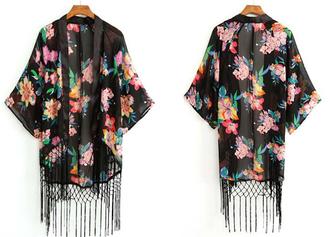 cardigan kimino floral floral t shirt tassel top shirt blouse fashion